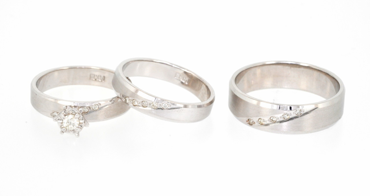 14k White Gold 0 20 Ct Diamond 3 Piece Engagement Ring And Wedding Bands Set