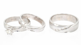 14K White Gold Diamond 3 Piece Engagement Ring and Wedding Bands Set