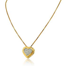 14K Yellow Gold Diamond Heart Slide Pendant 51000053