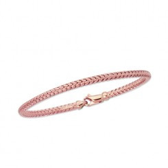 "PSTA304-0725 14K 7.25"" Rose Gold Shiny Round Basket Weaved Bangle with Lobster Clasp"