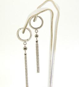 40001778 14K White Gold Hanging Hoop Earrings