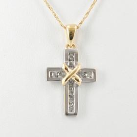 51001496 14K Two Tone Gold Diamond Cross Charm