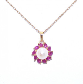 52000867 14K Yellow Gold Pearl and Ruby Charm