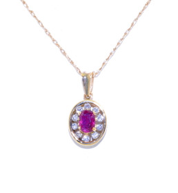 52000579 14K Yellow Gold Ruby and Diamond Charm