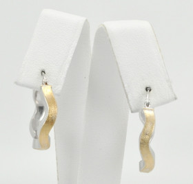 14K Two Tone Gold Wavy Hoop Earrings 40001098