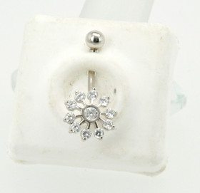 14K White Gold CZ Flower Belly Button Pin 88800126