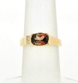 12002026 14K Yellow Gold Tourmaline Ring with Diamond Acccent