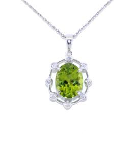 52000419 14K White Gold Diamond/Peridot Charm