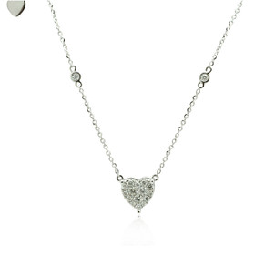 14K White Gold Diamond Heart Necklace 31000188