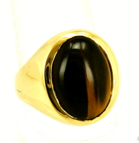 18K Yellow Gold Men's Tiger Eye Ring 11003578