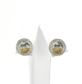 41060448 10K White Gold Tricolor Diamond Earrings