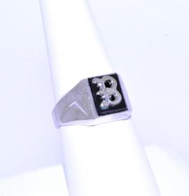 "81210028 Silver Onyx ""B"" Initial Ring"