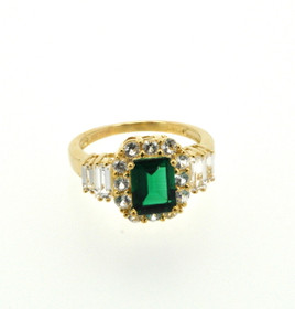10K Yellow Gold Synthetic Green Stone and CZ Ring