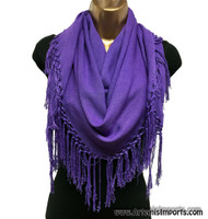 Moroccan Cotton Fringe Scarves - Purple