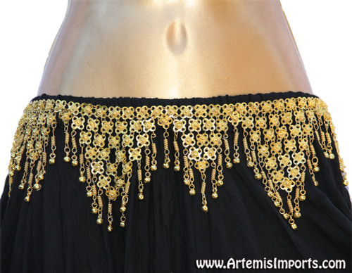 Triangle Shape Belt with Binty Bells for Belly Dance - Gold Tone