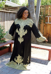 Lavishly Embroidered Caftan from Morocco ~ Petite Size Only