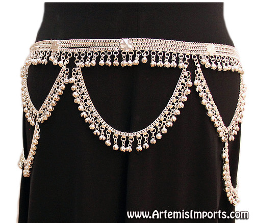 Belt With Loops and Bells - Silver Tone