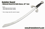 Belly Dance Scimitar Sword -  Balanced Sword for Belly Dance Brass Handle Only