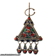 Fibulae from Morocco ~ Triangle Red, Green & Blue - Belly Dance