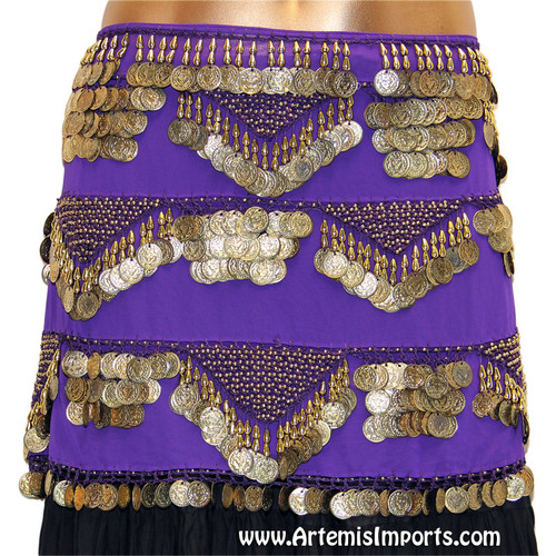 Belly Dance Classic Five-Row Egyptian Coin Hip Wrap in Purple and Gold