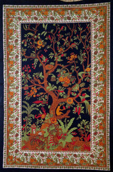 Vertical Tree of Life Tapestry on Black Backbround