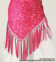 Burnout Velvet Hip Wrap With Beads, Tassels & Sateen Tie - Fuchsia