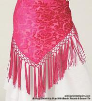 Burnout Velvet Hip Wrap With Beads, Tassels & Sateen Tie - Fuchsia