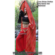 Lurex Stripe Chiffon Belly Dance Veil - Rectangle