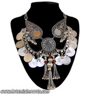 Belly Dance / Tribal Necklace With Mirror Medallions, Coins, Binty Bells & Metal Tassels - Silver Tone