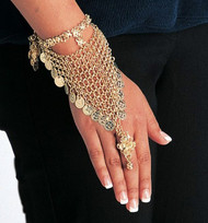 Belly Dance Slave Bracelet With Mesh, Coins & One Ring - Gold or Silver