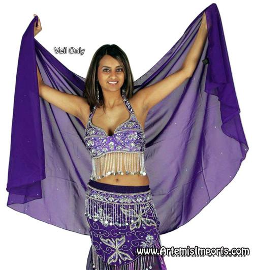 Belly Dance Half Circle Chiffon Veil With Crystals - Purple