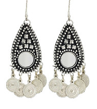 Belly Dance - Tribal Earrings With Mirror Medallion and Coins in Silver Tone