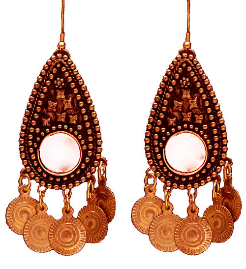 Belly Dance - Tribal Earrings With Mirror Medallion and Coins in Copper Tone