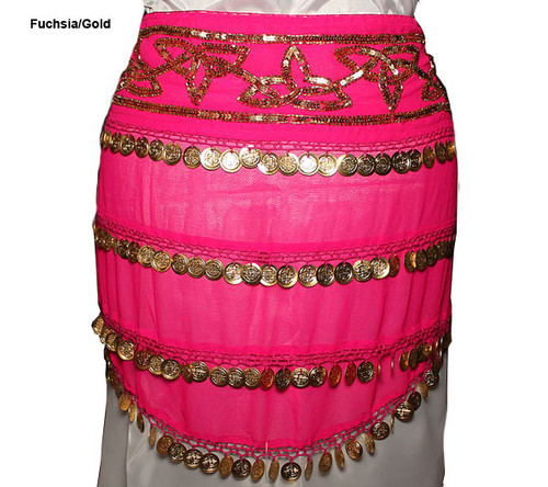 Chiffon Hip Scarf With Sequin Band & Coins Fuschia/Gold