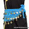 Belly Dance Coin Hip Scarves For Children - Turquoise/Gold