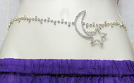 Belly Dance Rhinestone Belly Chain with Crescent Moon and Star Motif