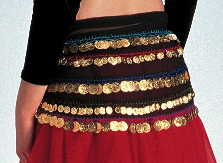 Belly Dance Chiffon Hip Scarf With 5 Rows Of Coins - Multi-Color/Gold