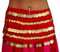 Belly Dance Chiffon Hip Scarf With 5 Rows Of Coins -  Red/Gold