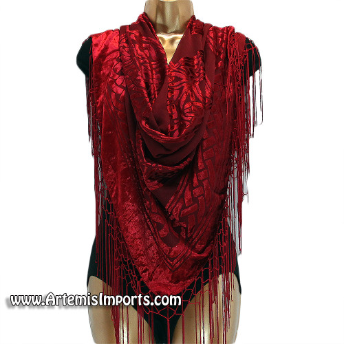 Velvet Scarf With Celtic Design & Fringe for Belly Dance