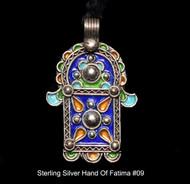 Hand of Fatima, Hamsa – Tuareg Sterling Silver Enamel Pendant From Morocco #09
