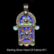 Hand of Fatima, Hamsa – Tuareg Sterling Silver Enamel Pendant From Morocco #11