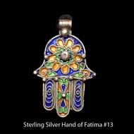 Hand of Fatima, Hamsa – Tuareg Sterling Silver Enamel Pendant From Morocco #13