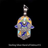 Hand of Fatima, Hamsa – Tuareg Sterling Silver Enamel Pendant From Morocco #15