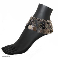 Belly Dance Anklet with Chain Fringe and Coins in Silver Tone.
