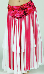 "Belly Dance Tie Dye Velvet Hip Wrap With 33"" Fringe"
