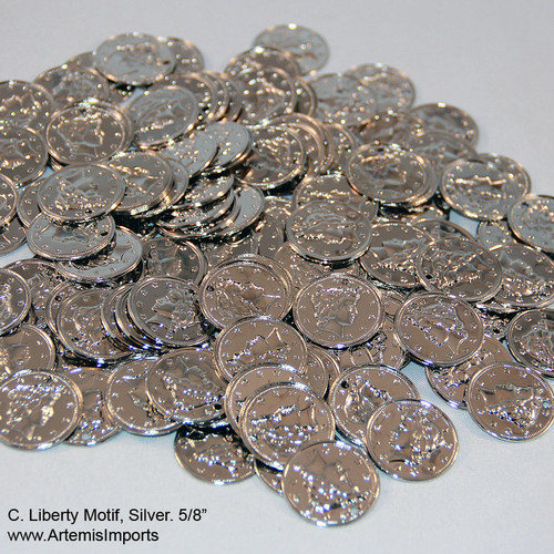 "BELLY DANCE / TRIBAL COINS FOR COSTUMING, SILVER LIBERTY MOTIF COIN, 5/8"". DO IT YOURSELF, CREATE YOUR OWN BELLY DANCE COSTUME WITH THESE SILVER TONE COINS."