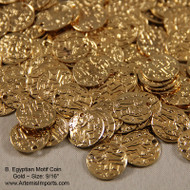 "Belly Dance / Tribal Coins for Costuming- Egyptian Motif Coin, 9/16"", Gold or Silver.  DIY, use these coins to create your own belly dance costume with gold coins."