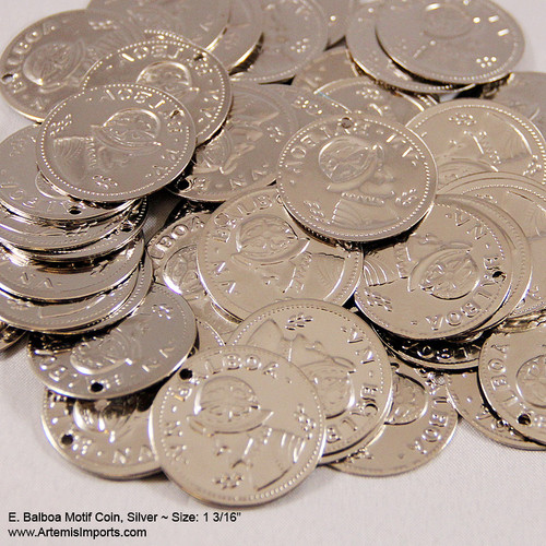 "Coins for Belly Dance / Tribal Costuming - Balboa Motif Coin, 1 3/16"" in Silver Tone."