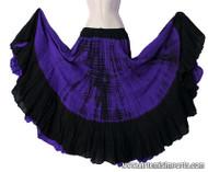 Belly Dance / Tribal Skirt - Cotton 7 Yard Gypsy Skirt in Tie Dye  Purple and Black.