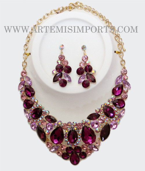 Belly Dance Necklace & Earring Set in Purple and Lavender